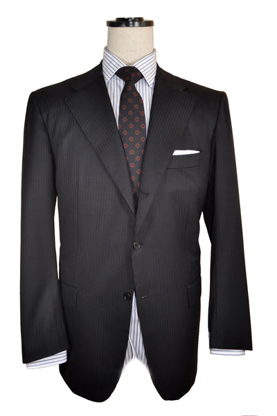 Authentic Kiton Suit Black Tonal Stripes
