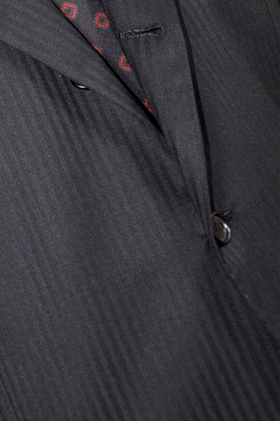 Kiton Suit Black Tonal Stripes 54 EUR - 43/ 44 US SALE