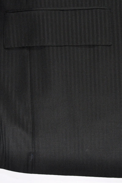 Kiton Suit Black Tonal Stripes EUR 54 - US 42/43 SALE