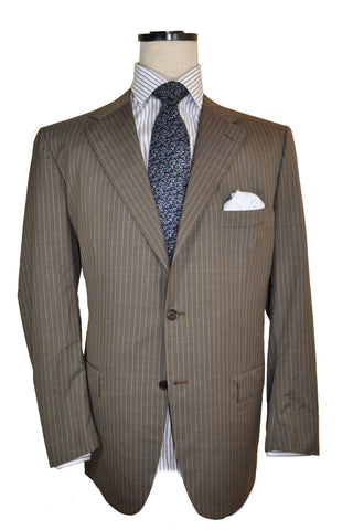 Kiton Suit Taupe-Gray Blue Stripes 14 Micron Blanc Blu 58 EUR / 46 US