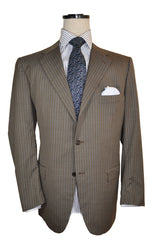 Kiton Suit Taupe-Gray Blue Stripes 14 Micron