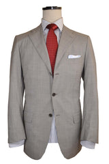 Kiton Suit Gray Wool Diamante Blue Super 150's