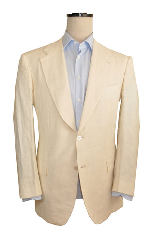Kiton Suit Ivory Linen Men 2 Button Suit EUR 54 / US 43/44 SALE