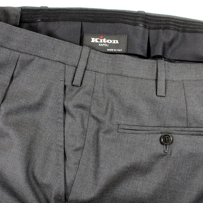 Kiton Suit Charcoal Gray 14 Micron Wool Pants