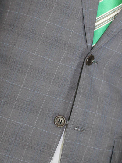Kiton Men Suit Gray Windowpane 14 Micron 180's Wool