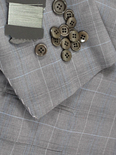 Kiton Men Suit Gray Windowpane 14 Micron 180's Wool EUR 48 - US 38