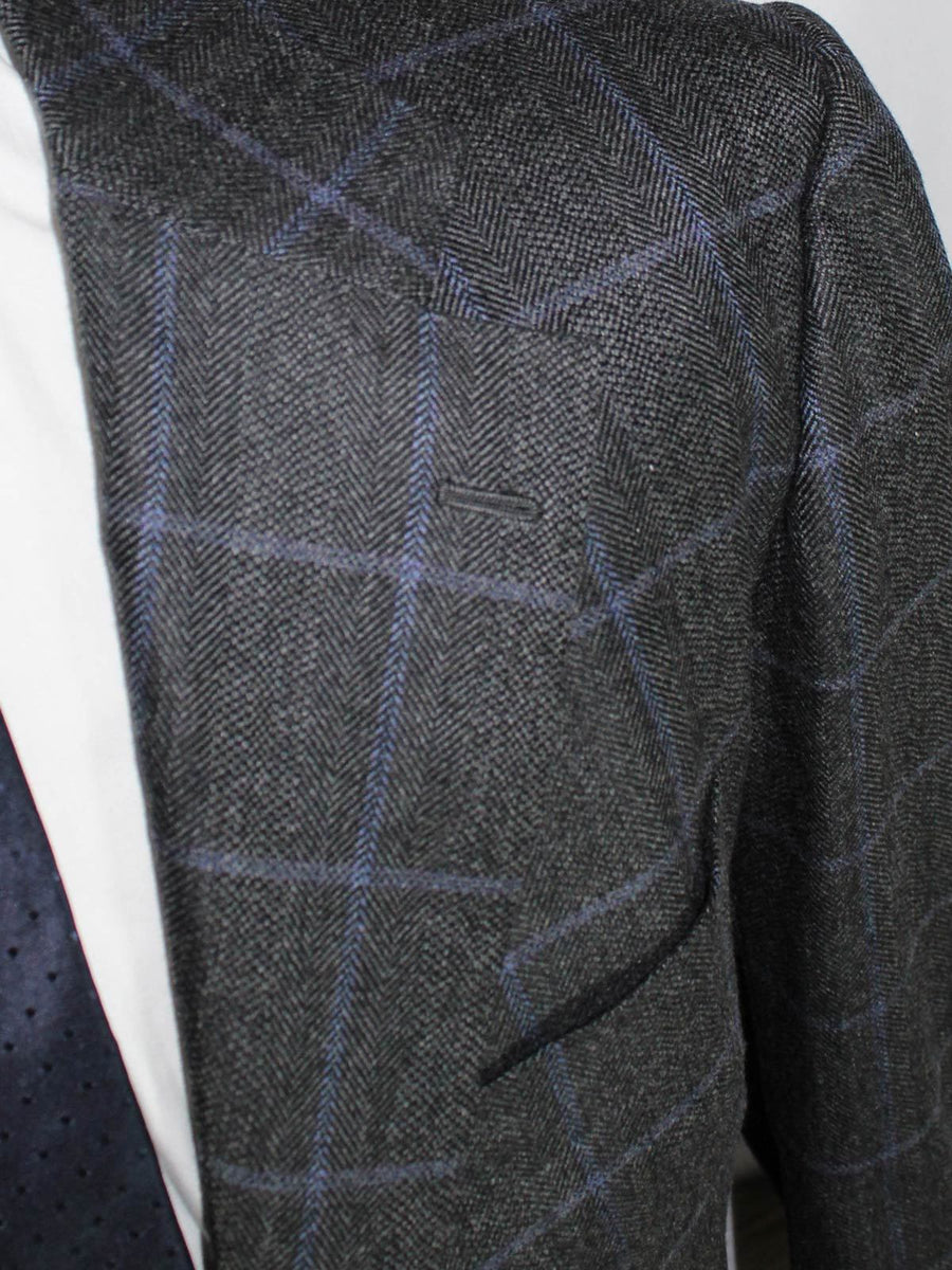 Kiton Sport Coat Gray Windowpane