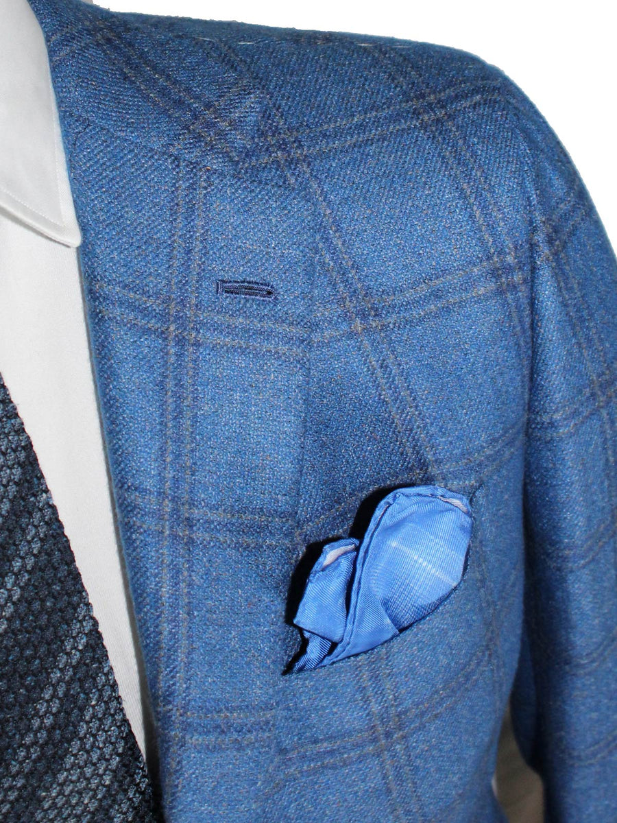 Kiton Sport Coat Blue Gray Windowpane Cashmere