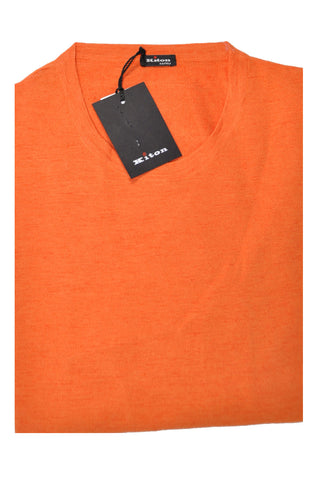 Kiton Sweater Linen Silk Orange Crewneck SALE M / 50