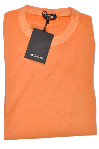 Kiton Sweater Cashmere Silk Peach-Orange S / 48 SALE