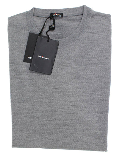 Kiton Wool Sweater Charcoal Gray Crewneck New