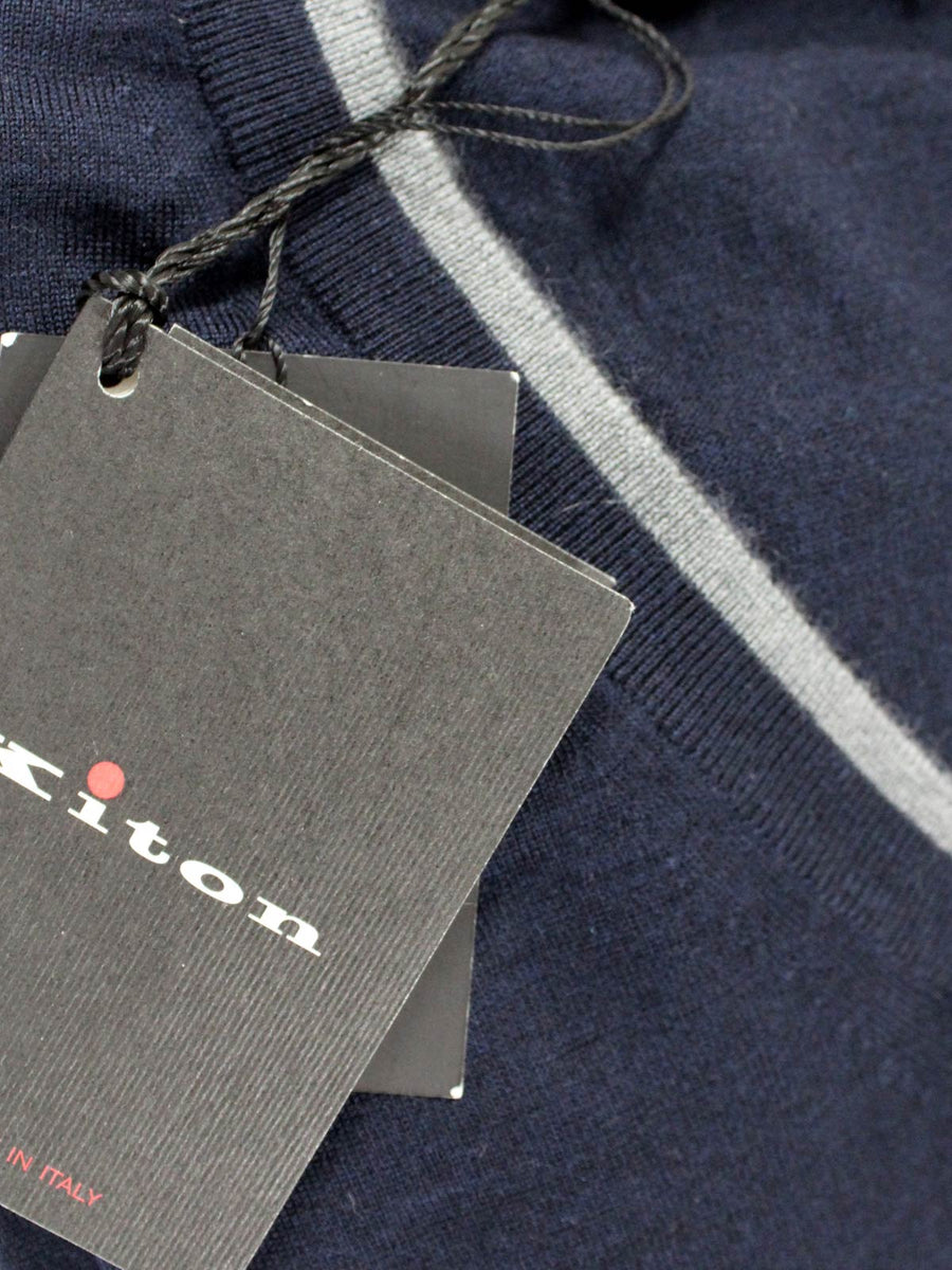 Kiton Cashmere Silk V-Neck Sweater Midnight Blue