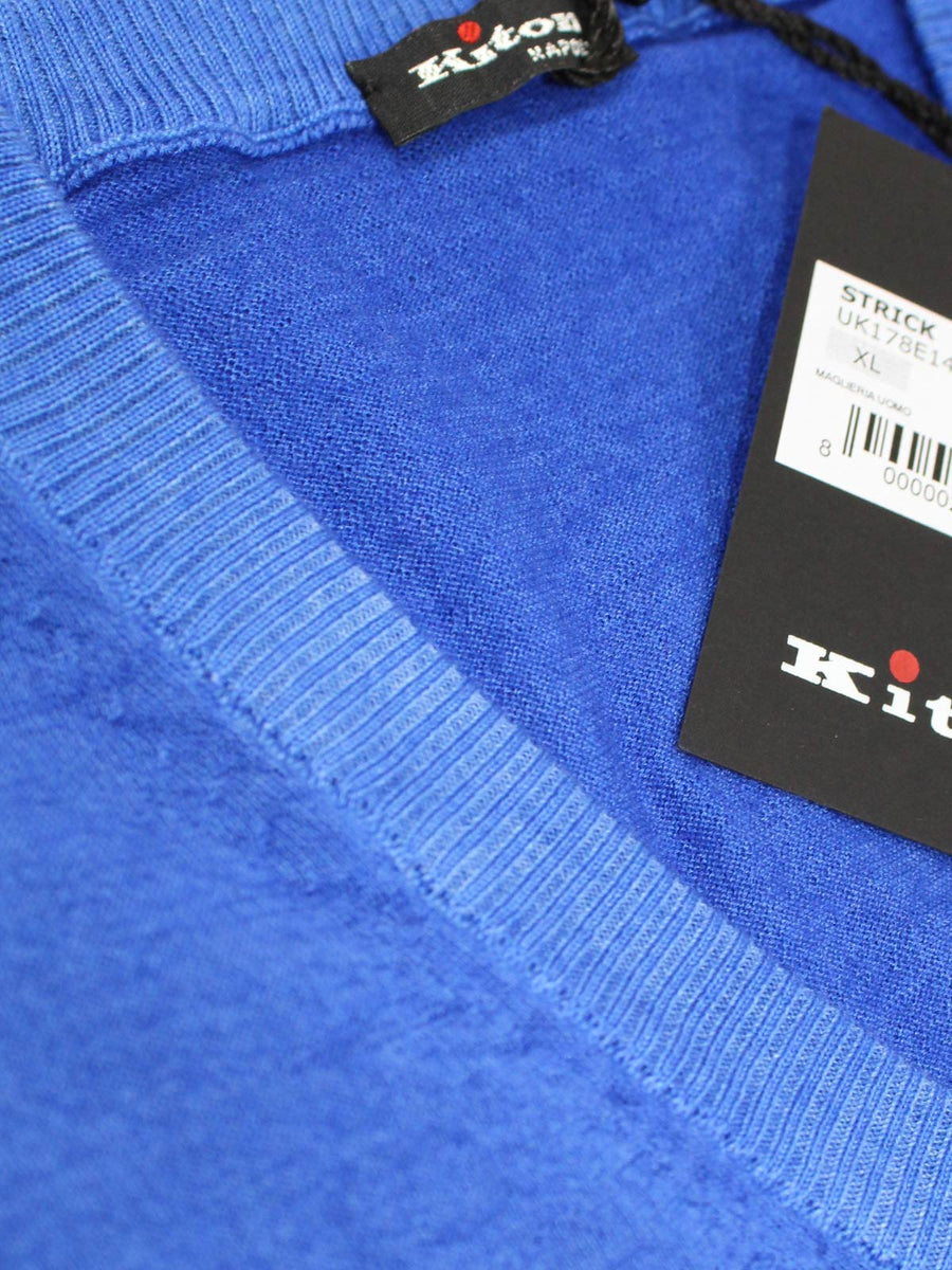 Kiton Cashmere Silk V-Neck Sweater Royal Blue 54 XL