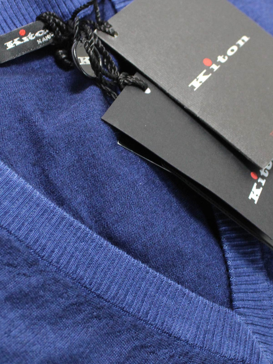 Kiton Cashmere Silk Sweater Royal Blue V-Neck