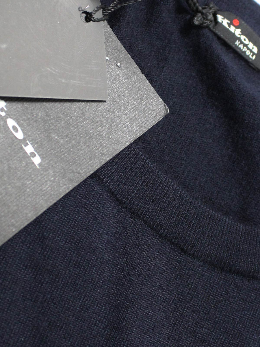 Kiton Cashmere Silk Sweater Dark Blue Crewneck New