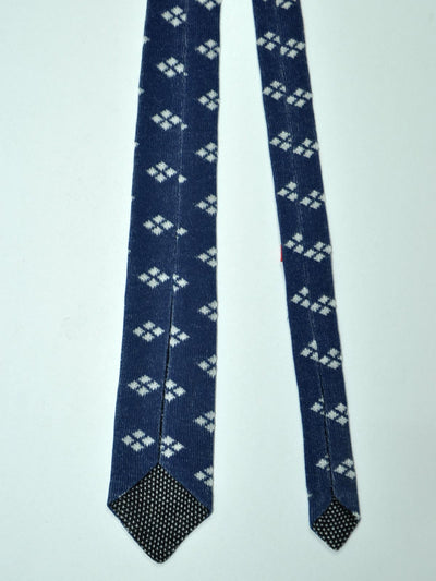 Kiton Skinny Tie Navy White Diamonds