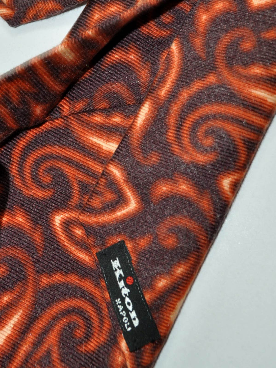 Kiton Sevenfold Tie Brown Watercolors Oversized Paisley FINAL SALE