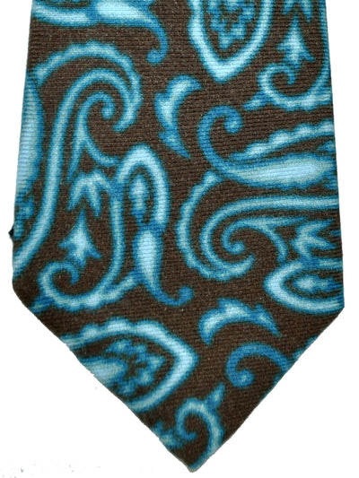 Kiton Sevenfold Tie Taupe-Gray Aqua Watercolors SALE