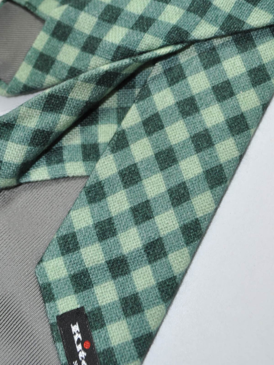 Kiton Wool Tie Green Check Sevenfold Tie SALE
