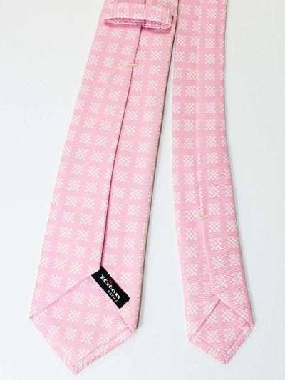 Kiton Sevenfold Tie Pink White Geometric - Summer Collection