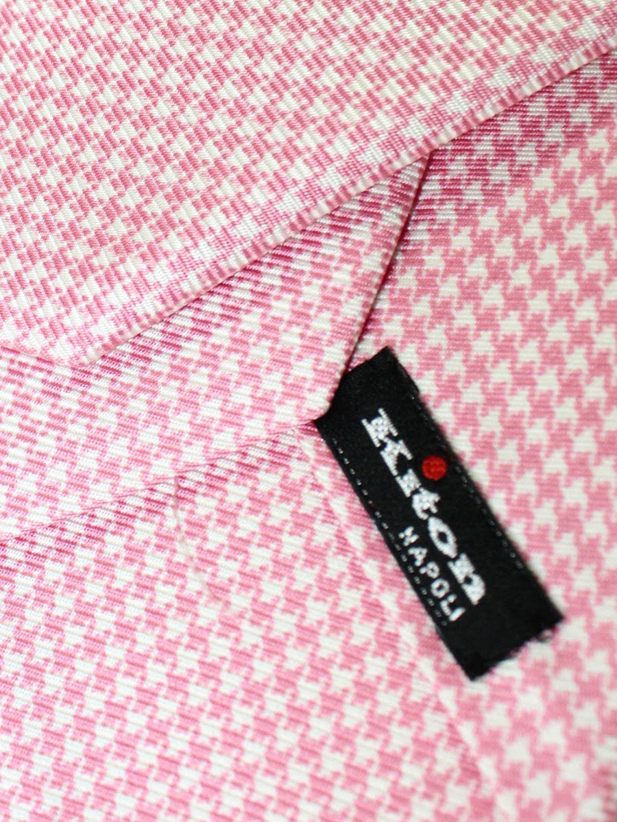 Kiton Sevenfold Tie Pink White Houndstooth