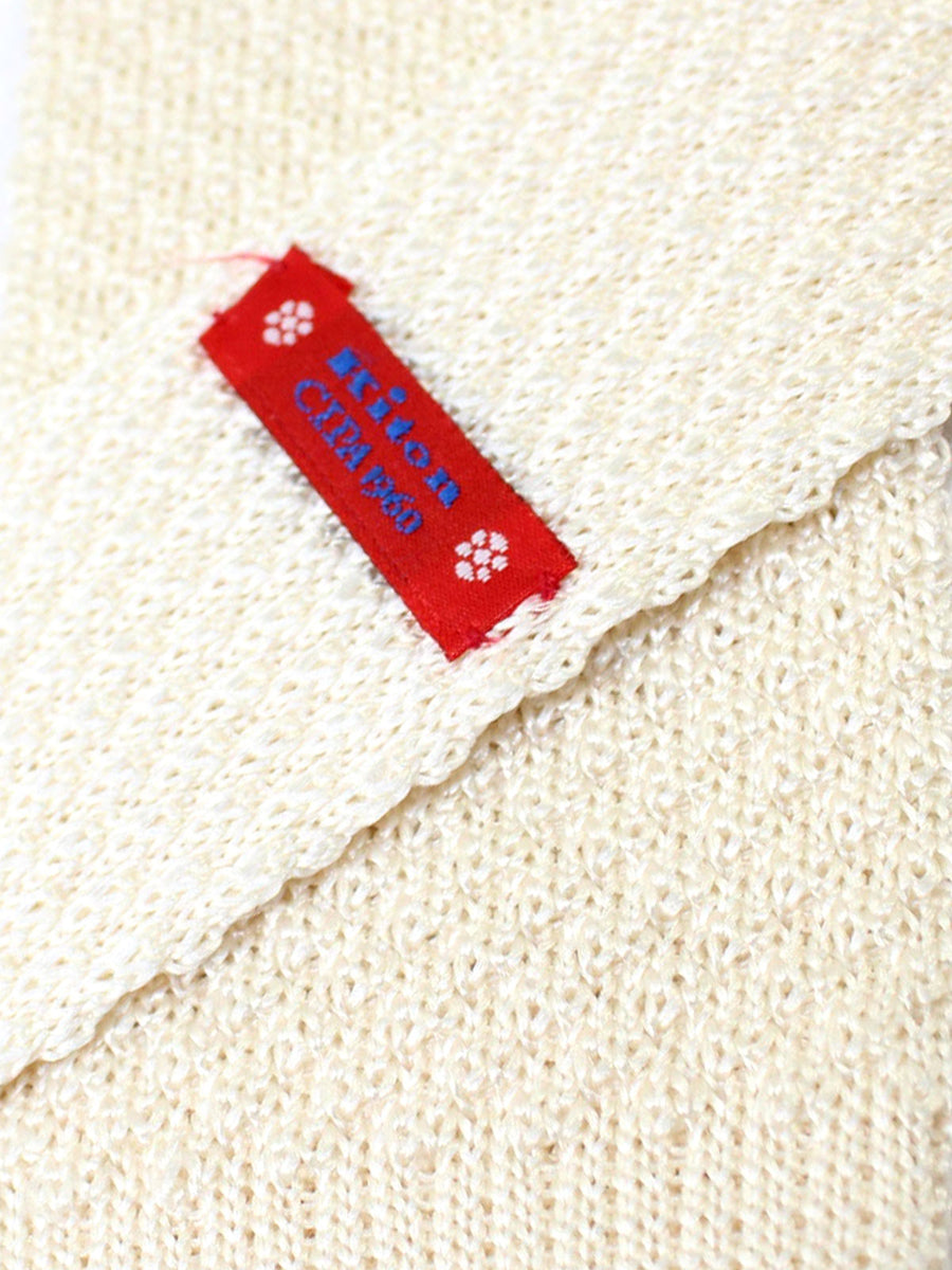 Kiton Skinny Square End Tie White Knitted Necktie - Cipa 1960