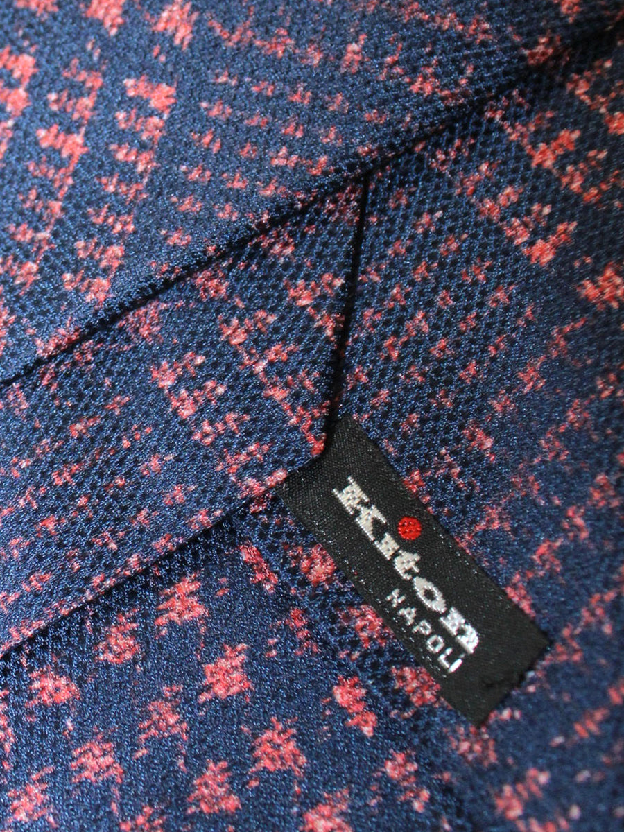 Kiton Sevenfold Tie Dark Blue Pink Glen Check Geometric
