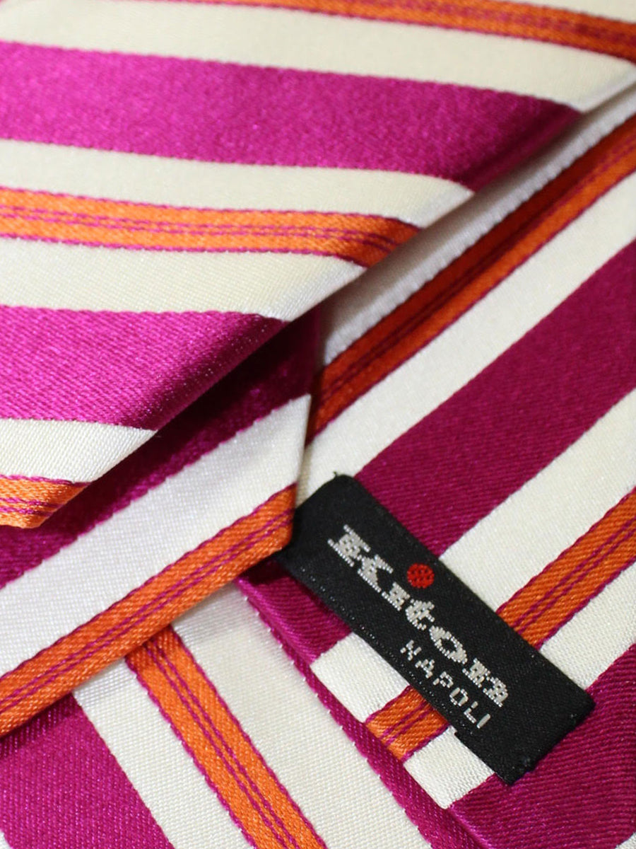 Kiton Sevenfold Tie Fuchsia Orange Stripes