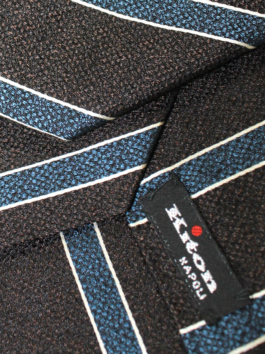 Kiton Sevenfold Tie Brown Black Blue Stripes