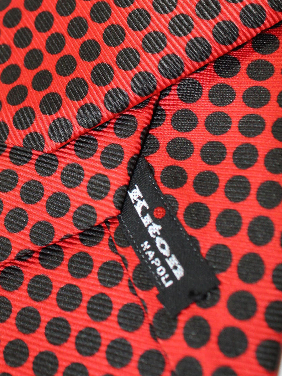 Kiton Sevenfold Tie Orange Black Polka Dots