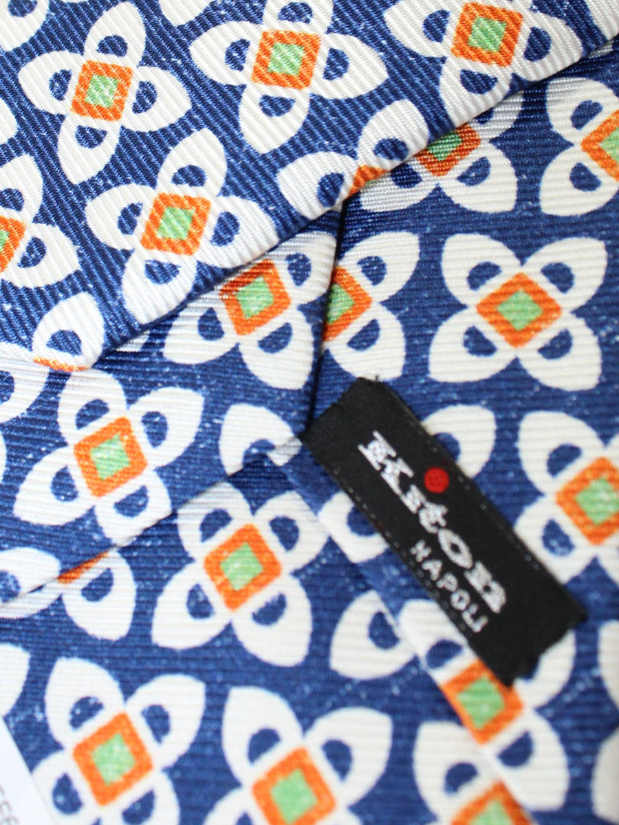 Kiton Sevenfold Tie Navy Orange Medallions