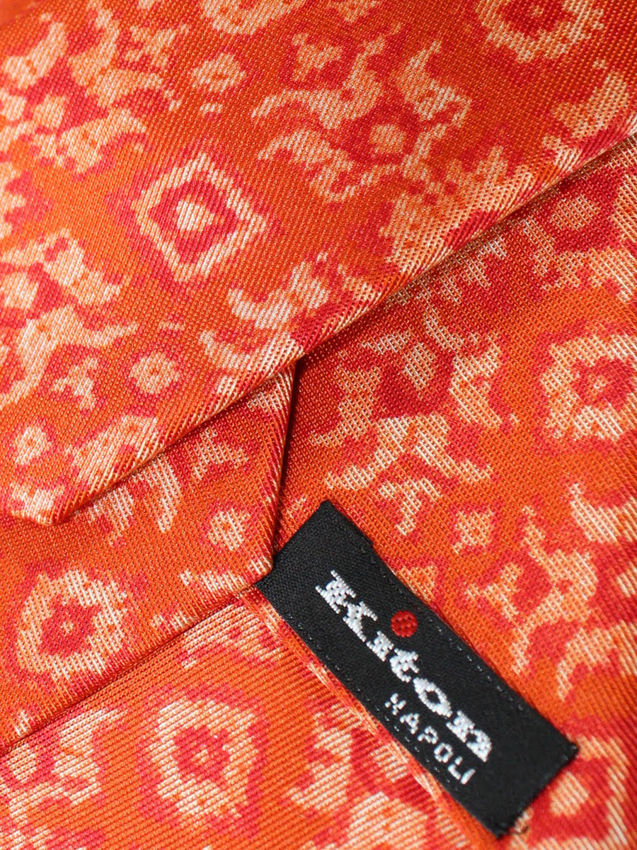 Kiton Sevenfold Tie Orange Medallions