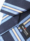 Kiton Sevenfold Tie Navy Blue Stripes
