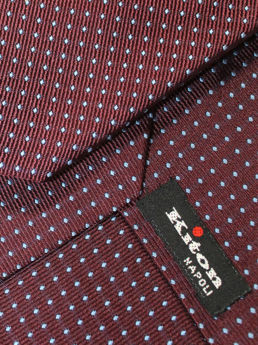 Kiton Tie Maroon Blue Mini Dots Design Silk Sevenfold Necktie
