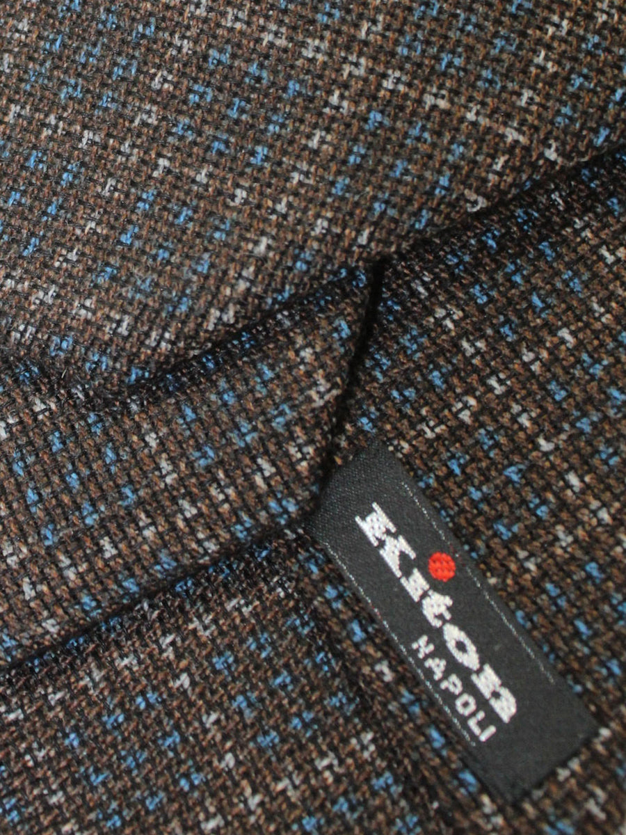 Kiton Tie Brown Royal Gray Check Design Wool Silk Sevenfold Necktie