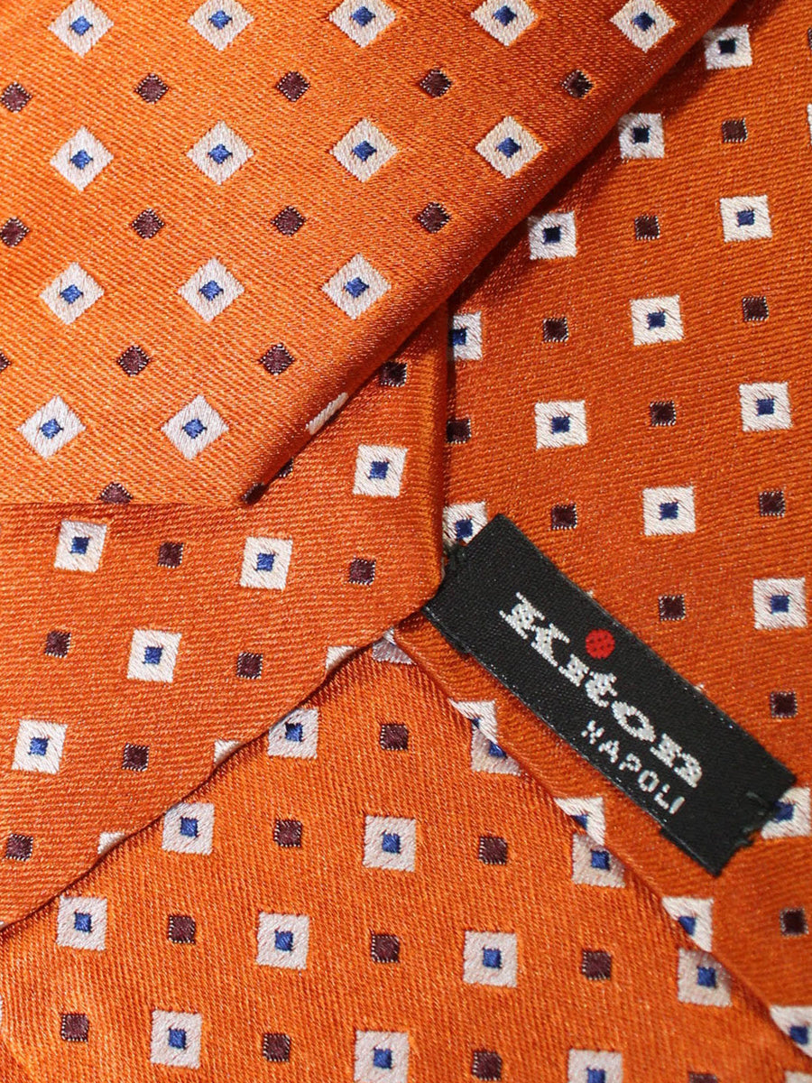 Kiton Tie Orange Squares Design Silk Sevenfold Necktie