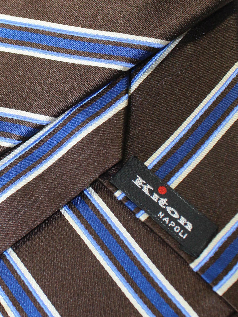 Kiton Tie Brown Royal Stripes Design Silk Sevenfold Necktie