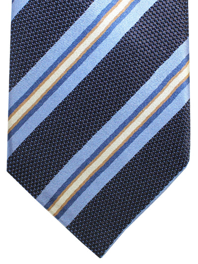 Kiton Tie Navy Blue Stripes Design Silk Sevenfold Necktie