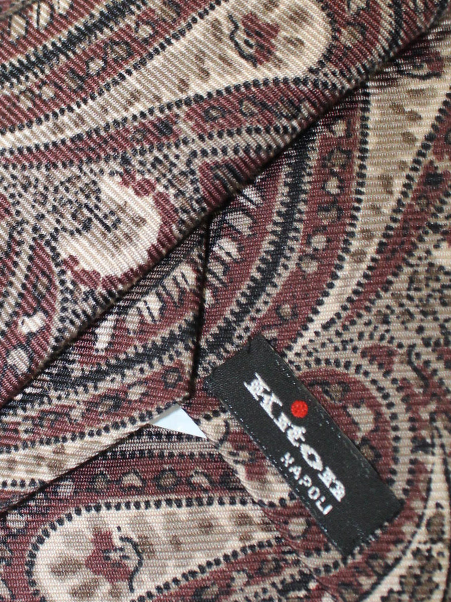 Kiton Tie Brown Paisley Design Silk Sevenfold Necktie