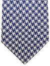Kiton Sevenfold Tie Silver Dark Blue Houndstooth Wool Silk
