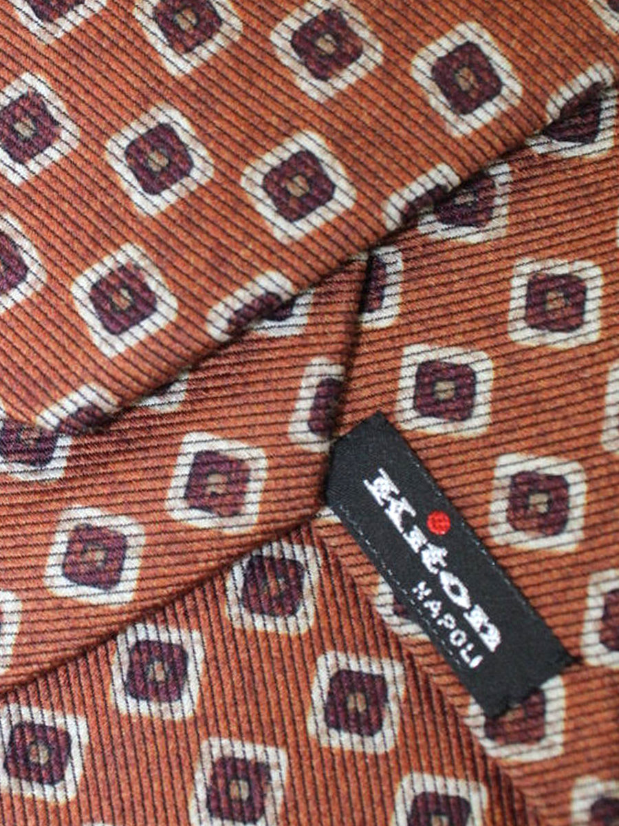 Kiton Sevenfold Tie Mustard Brown Geometric Design Wool Silk