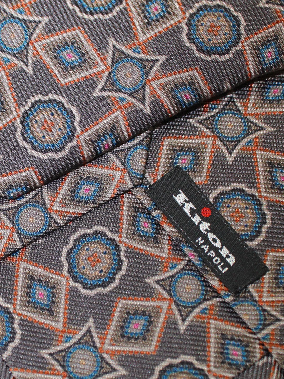 Kiton Sevenfold Tie Brown Medallions