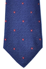 Kiton Tie Navy Red Silver Geometric - Sevenfold
