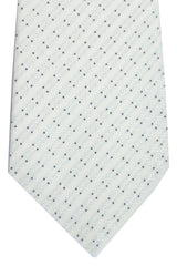 Kiton Sevenfold Tie White Silver Black Geometric FINAL SALE
