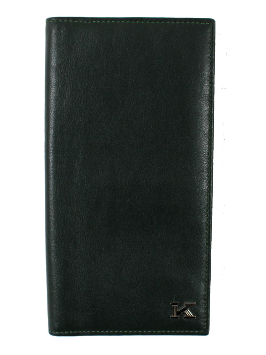 Large Dark Green Smooth Leather Men Billfold Wallet New