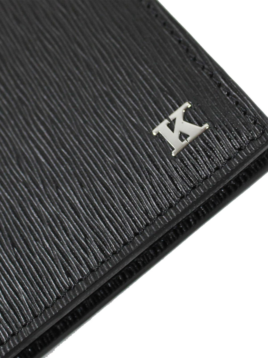 Kiton Wallet - Black Grain Leather Men Wallet