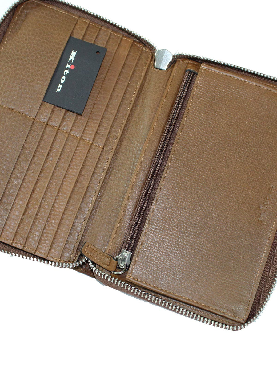 Kiton Wallet - Large Brown Grain Leather Zip Wallet New