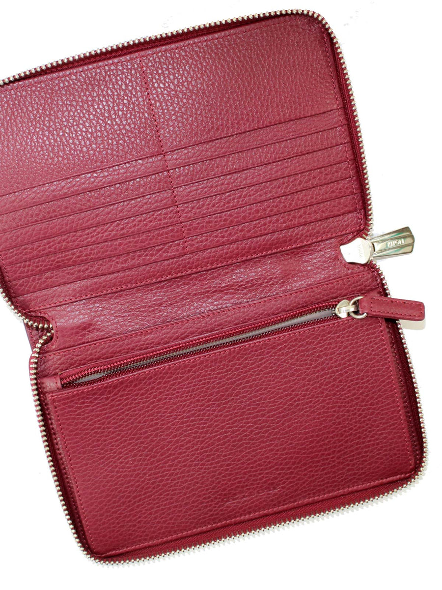Kiton Men Wallet - Large Maroon Burgundy Grain Leather Zip Wallet