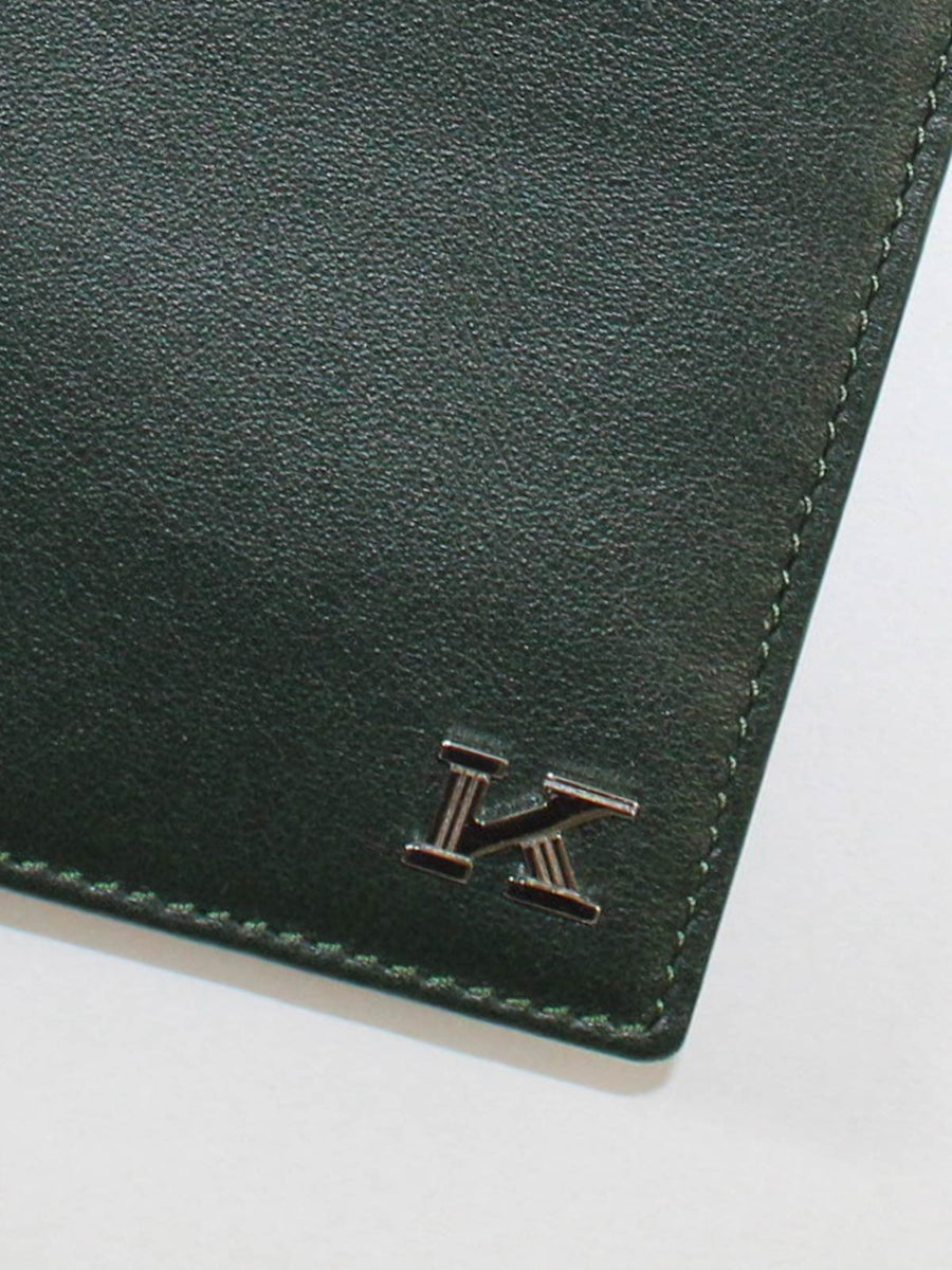 Kiton Wallet - Large Dark Green Smooth Leather Men Wallet -SALE