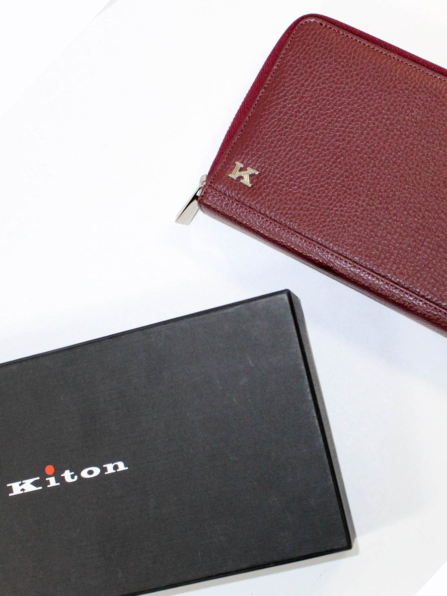 Kiton Men Wallet - Large Bordeaux Grain Leather Zip Wallet
